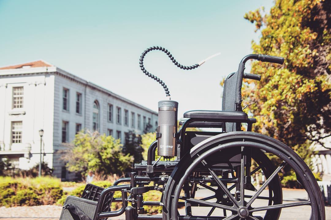 Fleximug in wheelchair outside